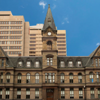 View of Halifax City Hall Building in Downtown Halifax on sunny day.