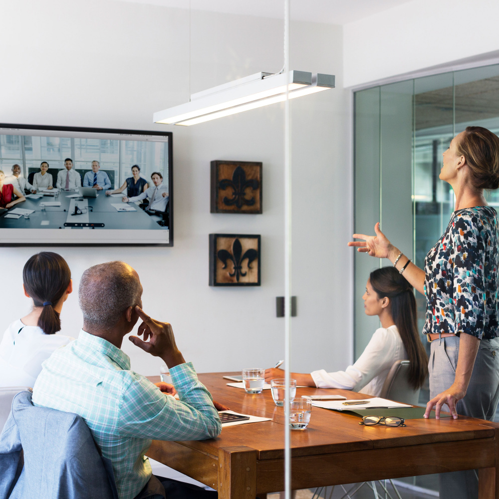 Group of people at a firm on a video conference