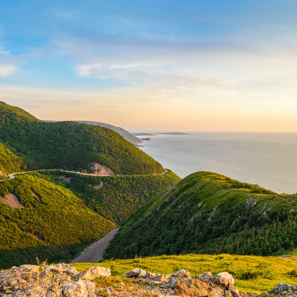 Aerial view of winding road through Cape Breton Highlands